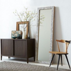 Parsons Floor Mirror - Gray Herringbone
