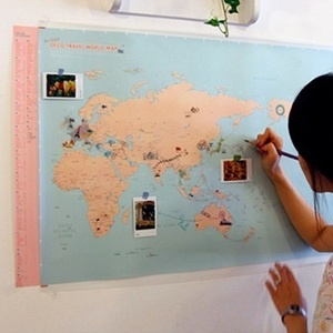Deco travel world map