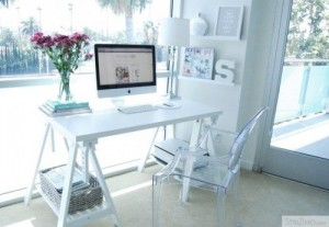 IKEA SPOTTED // VIKA AMON table top in white, VIKA ARTUR trestle with shelf in white, RIBBA picture ledge in white