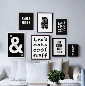 Wall deco, living room, salon, black and white, board, art, painting