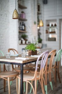 Alexander Waterworth Interiors // Hally's London ; half painted thonet chairs