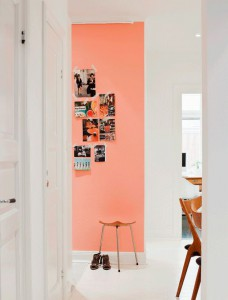 Peach wall + bright white