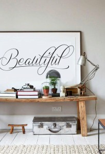 Beautiful - Calligraphy Poster - Black and White