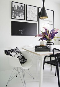 Black and white art. Easy way to make it 'fit' in a group is add the perfect size piece of wood painted with chalkboard paint and draw on it.